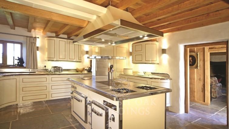 Oak beams and floorboards over kitchen, Bristol