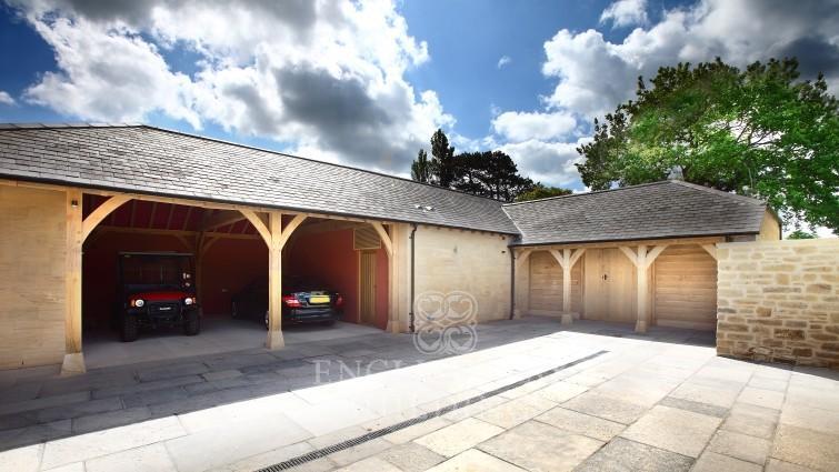 Oak framed garage somerset hand crafted in the uk