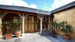oak loggia, oak doors and green oak frame workshop
