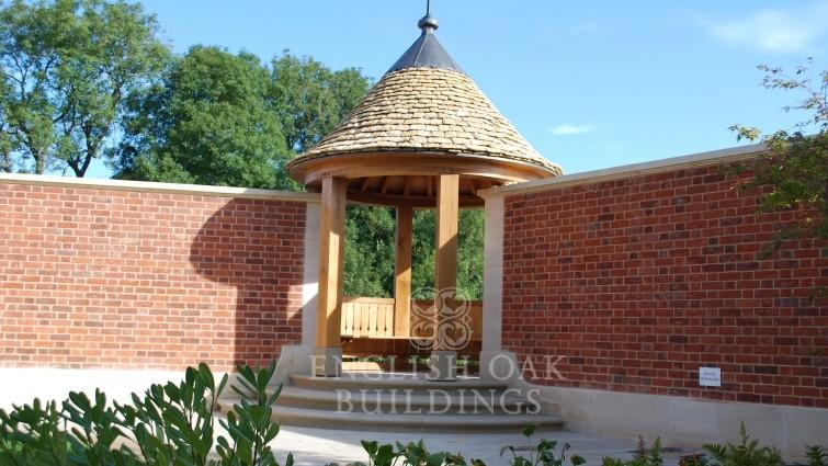 Oak Belverdere, garden pagoda, gazebo stone roof