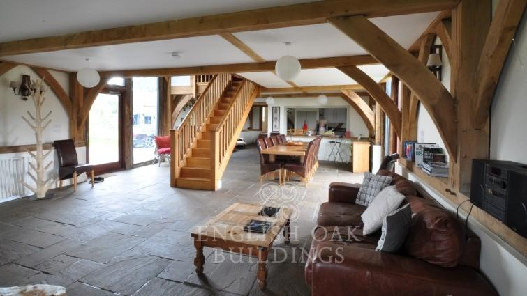 Green Oak frame House Barn Conversion, New Forest, Hampshire, living room