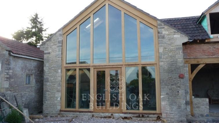 The Barn, Tuton Hill. direct glazed oak gable screen