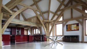 Oak Frame house, sling brace truss, Holyport, Berkshire