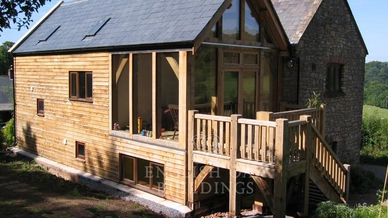 Oak frame extension with glass