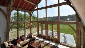 Green-Oak-Frame-House-and-glass-wall-Cornwall
