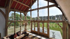 Oak Frame House, glass wall, Cornwall